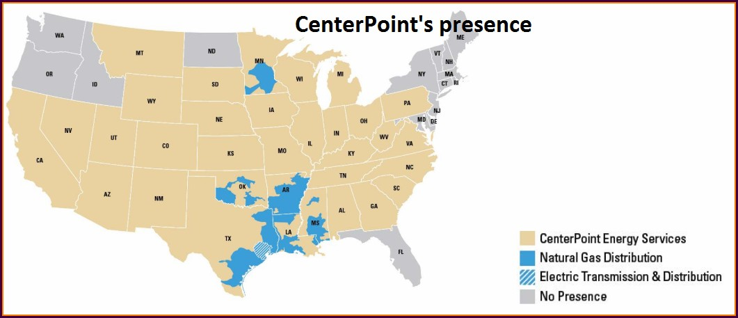 Centerpoint Energy Service Territory Map