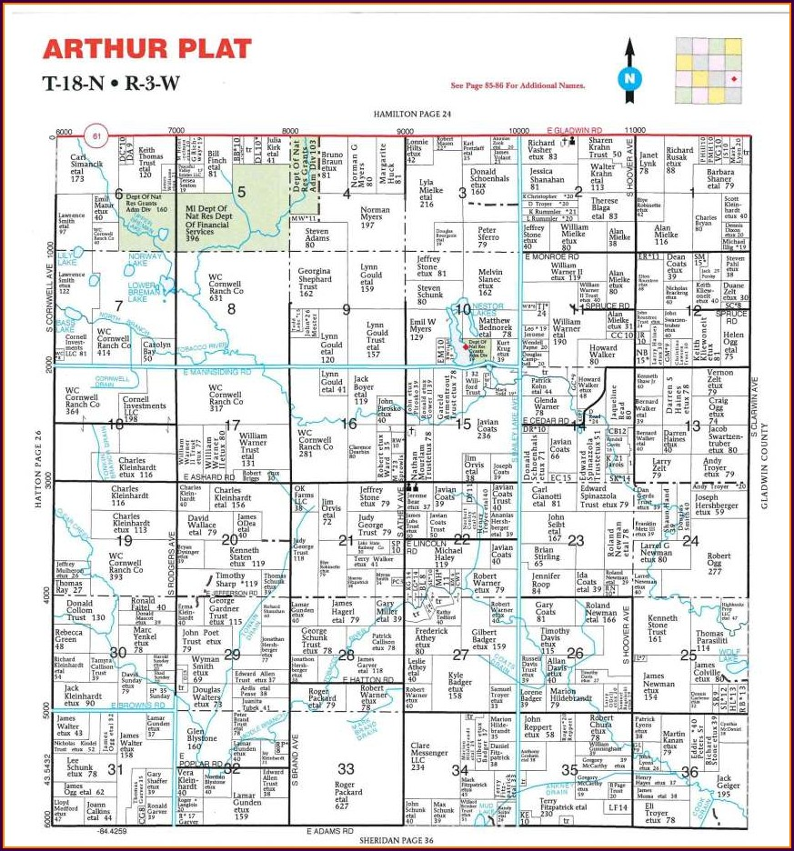 Clare County Michigan Township Map