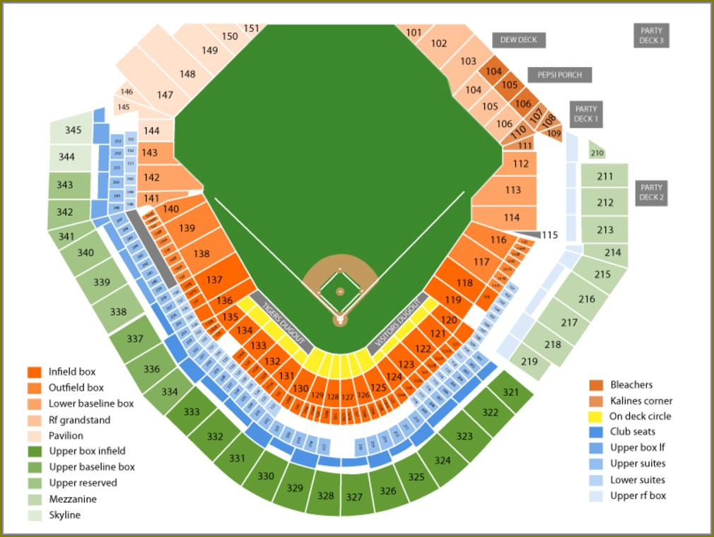 Comerica Park Detailed Seating Map