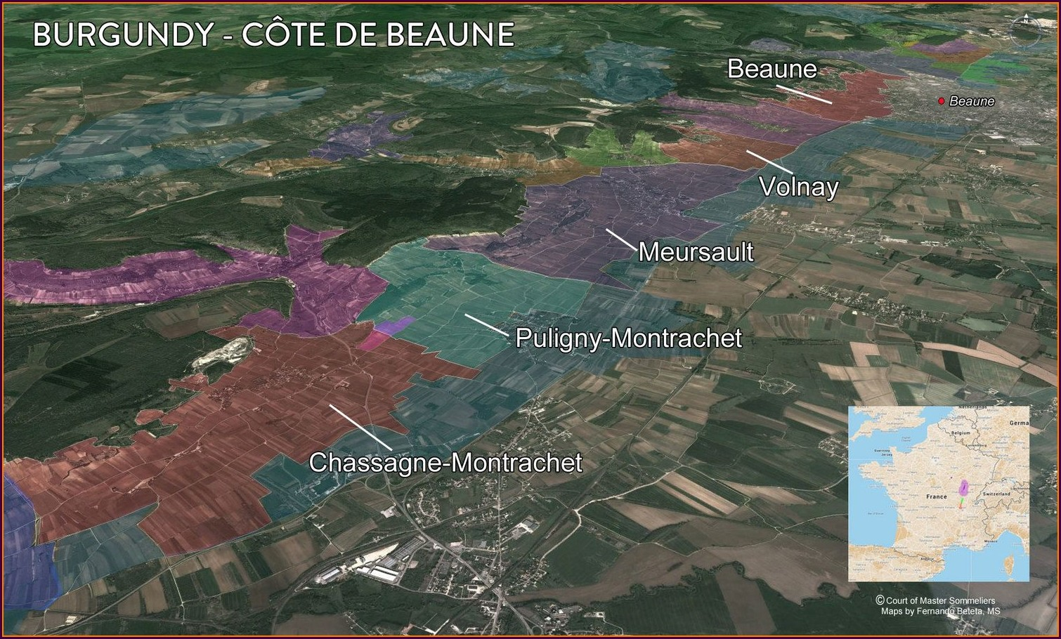 Cote De Beaune Wine Map