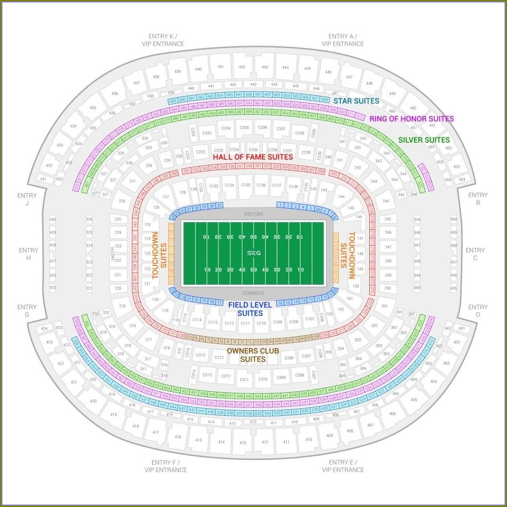 Dallas Cowboys Stadium Seating Map