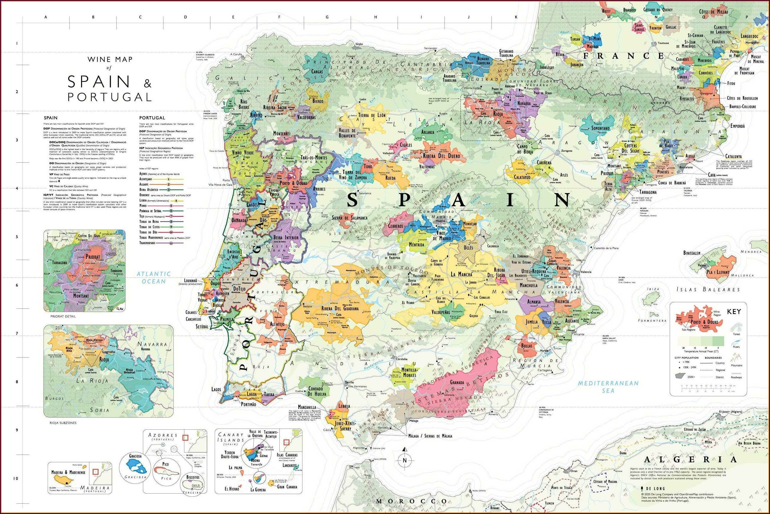 De Long Wine Map Of Spain Portugal