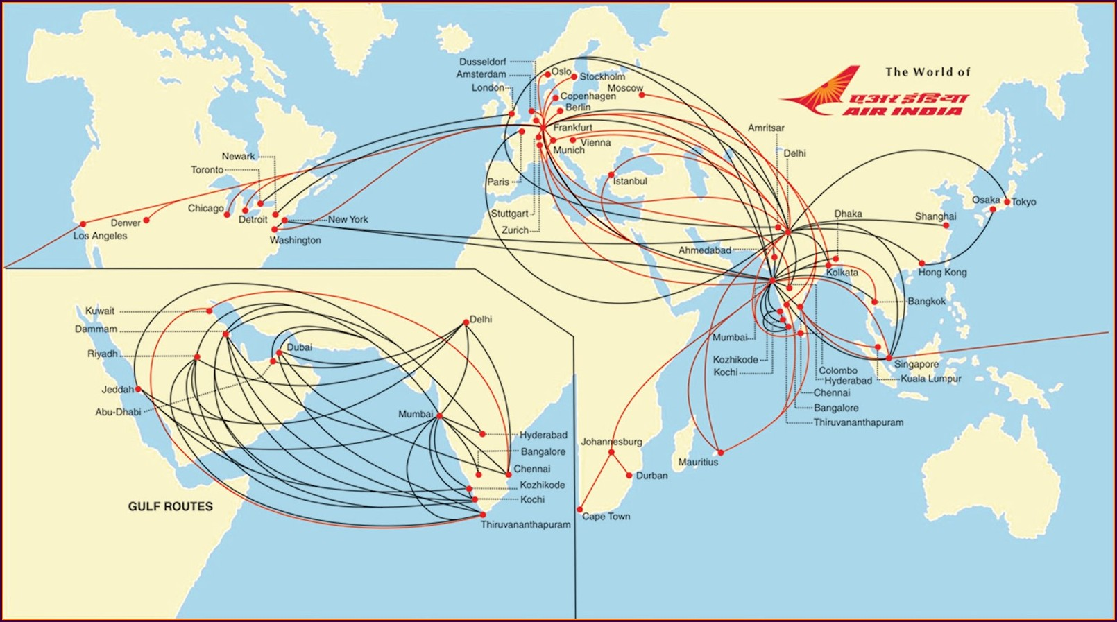 Delhi To Chicago Air India Flight Route Map