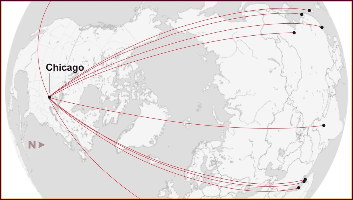 Delhi To Chicago Flight Route Map