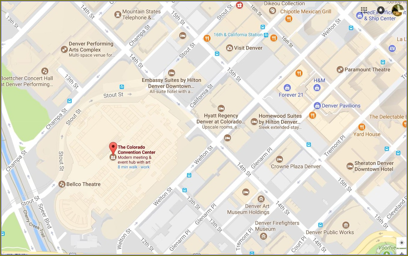 Denver Convention Center Hotels Map