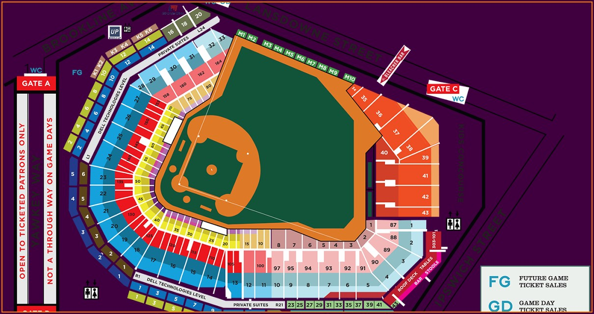 Detailed Seat Map Fenway Park