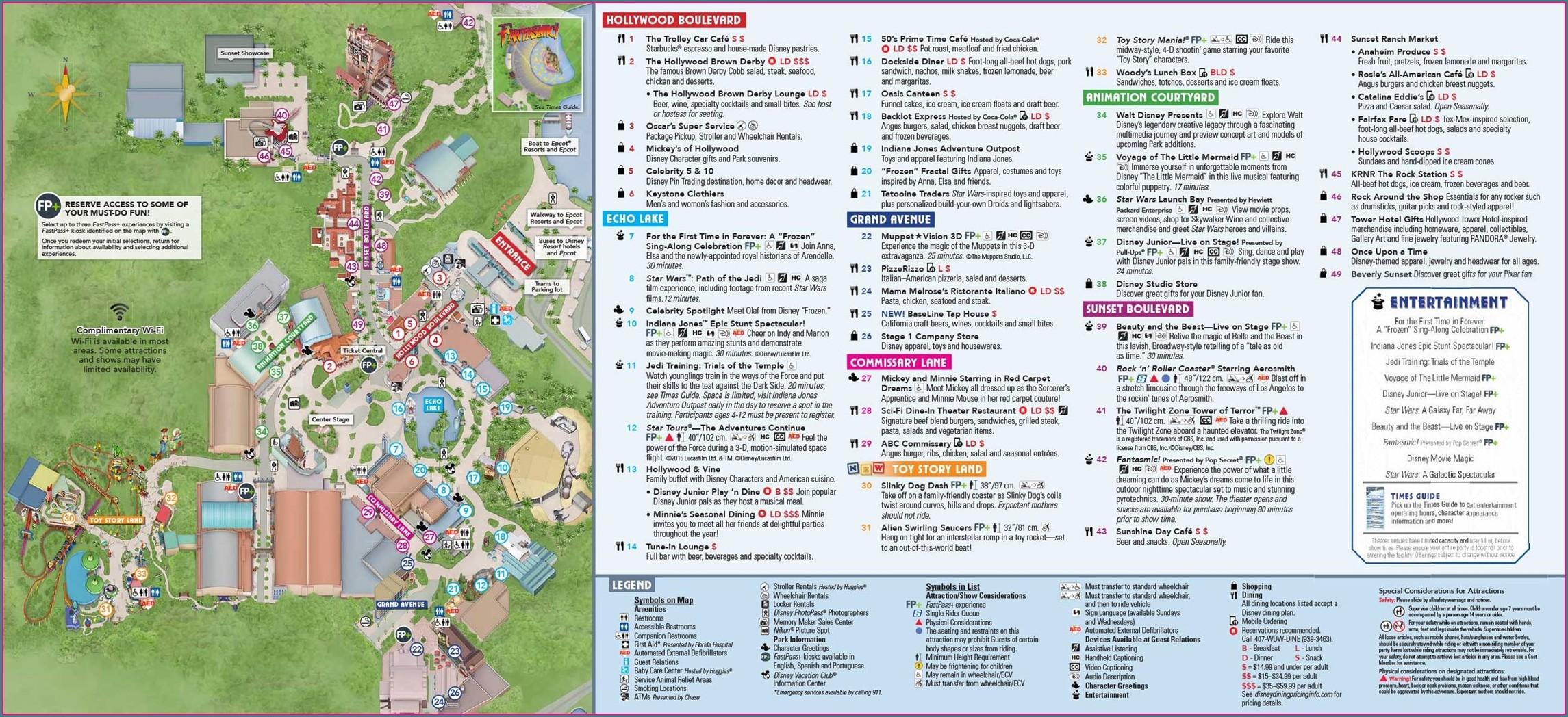 Disney Hollywood Studios Orlando Map 2019