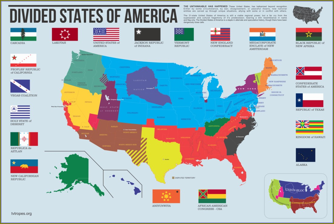 Disunited States Of America Book Map