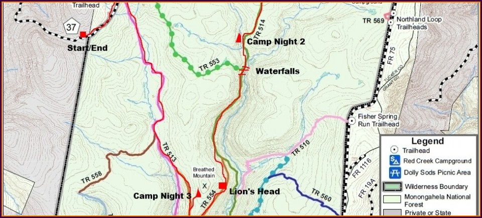 Dolly Sods Backpacking Map