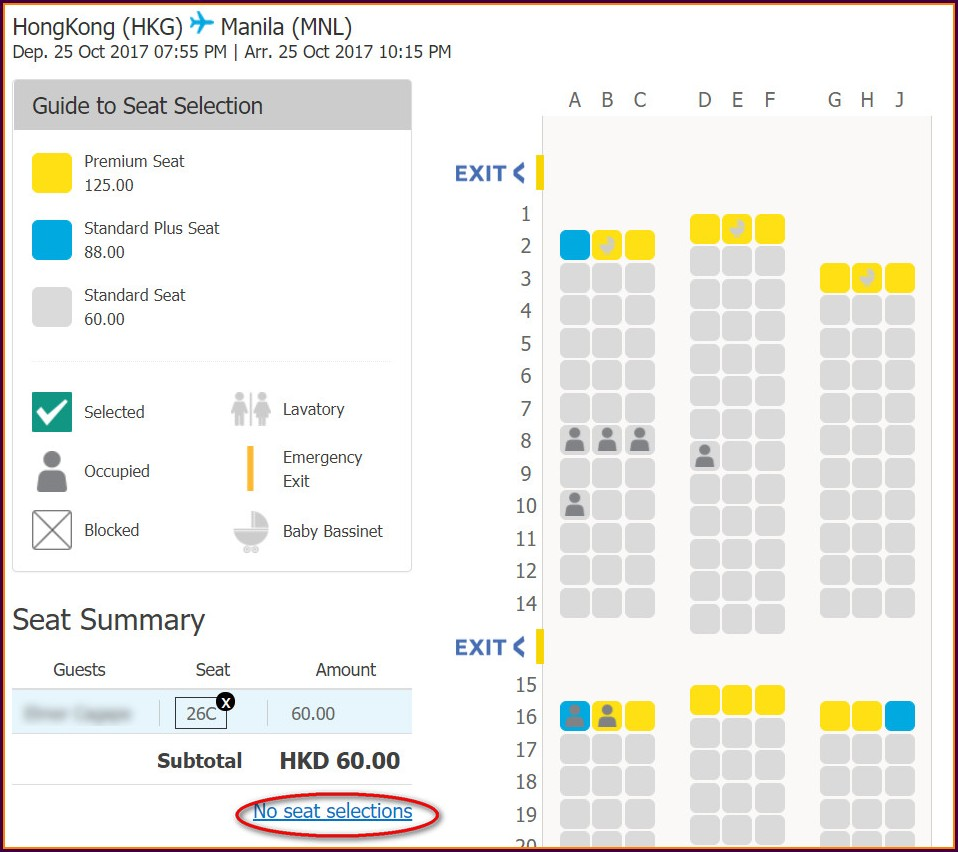 Domestic Cebu Pacific Seat Map 5j