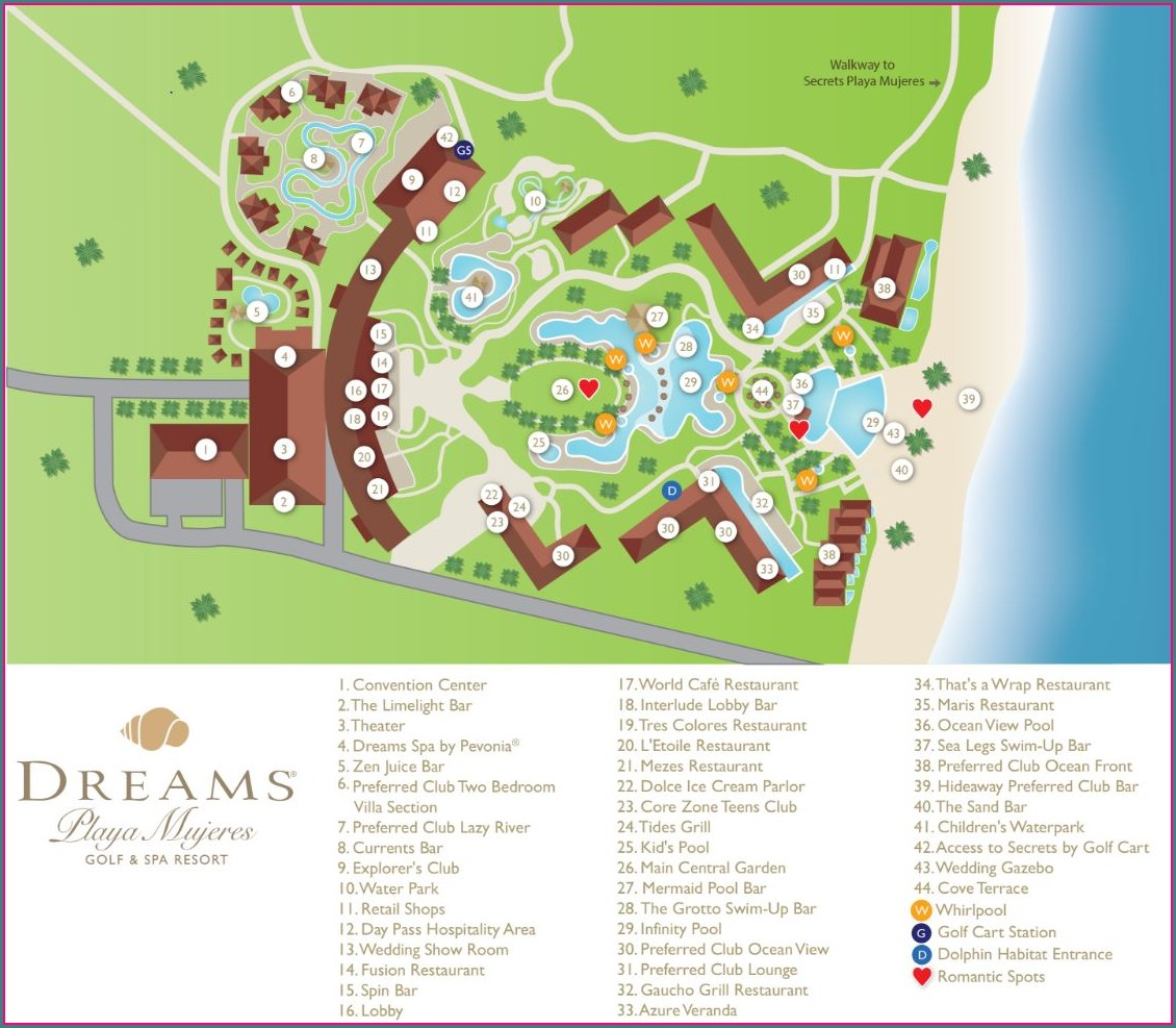 Dreams Playa Mujeres Resort Map