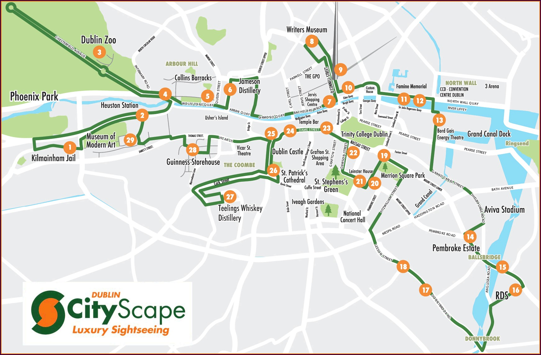 Dublin City Sightseeing Bus Tour Map