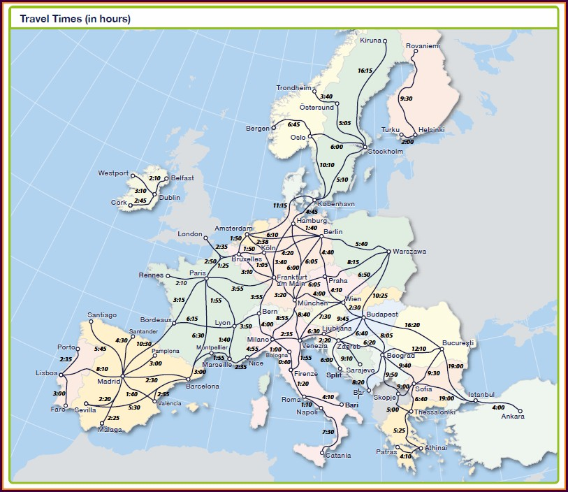 Eurail Travel Times Map