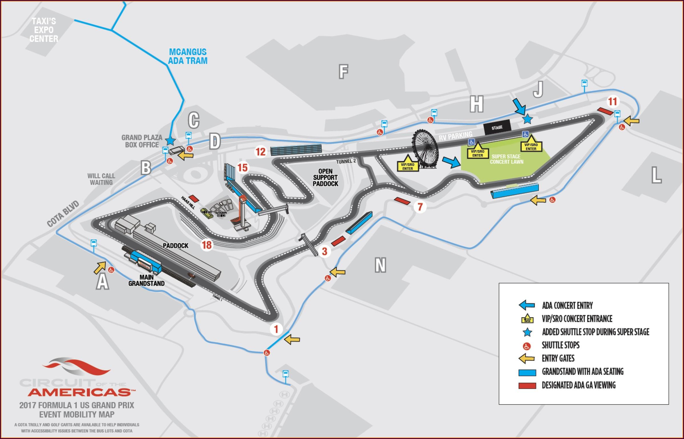 F1 Austin Parking Map
