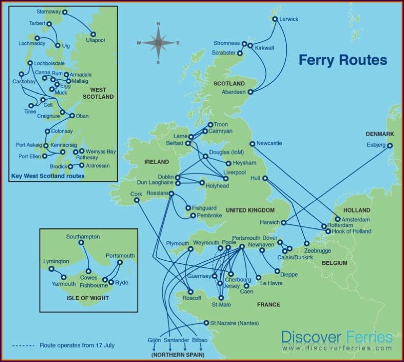 Ferry From England To France Map