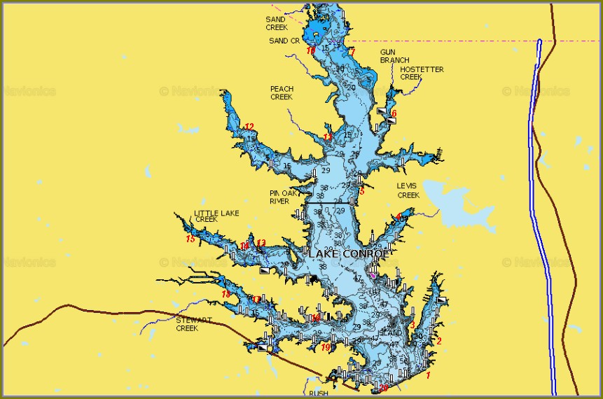 Fishing Map Of Lake Conroe Tx