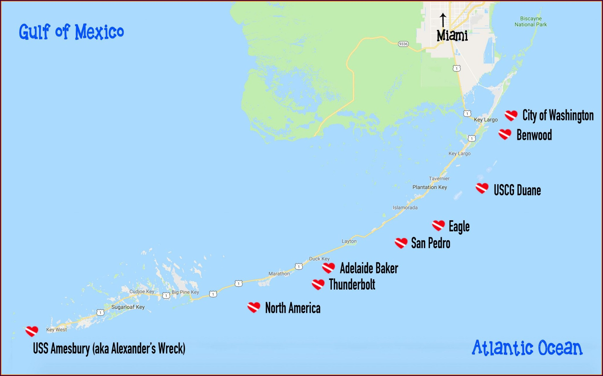 Florida Keys Wrecks Map