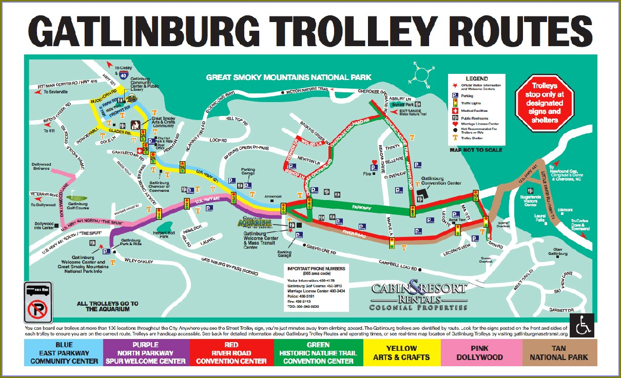 Fun Time Trolley Pigeon Forge Map