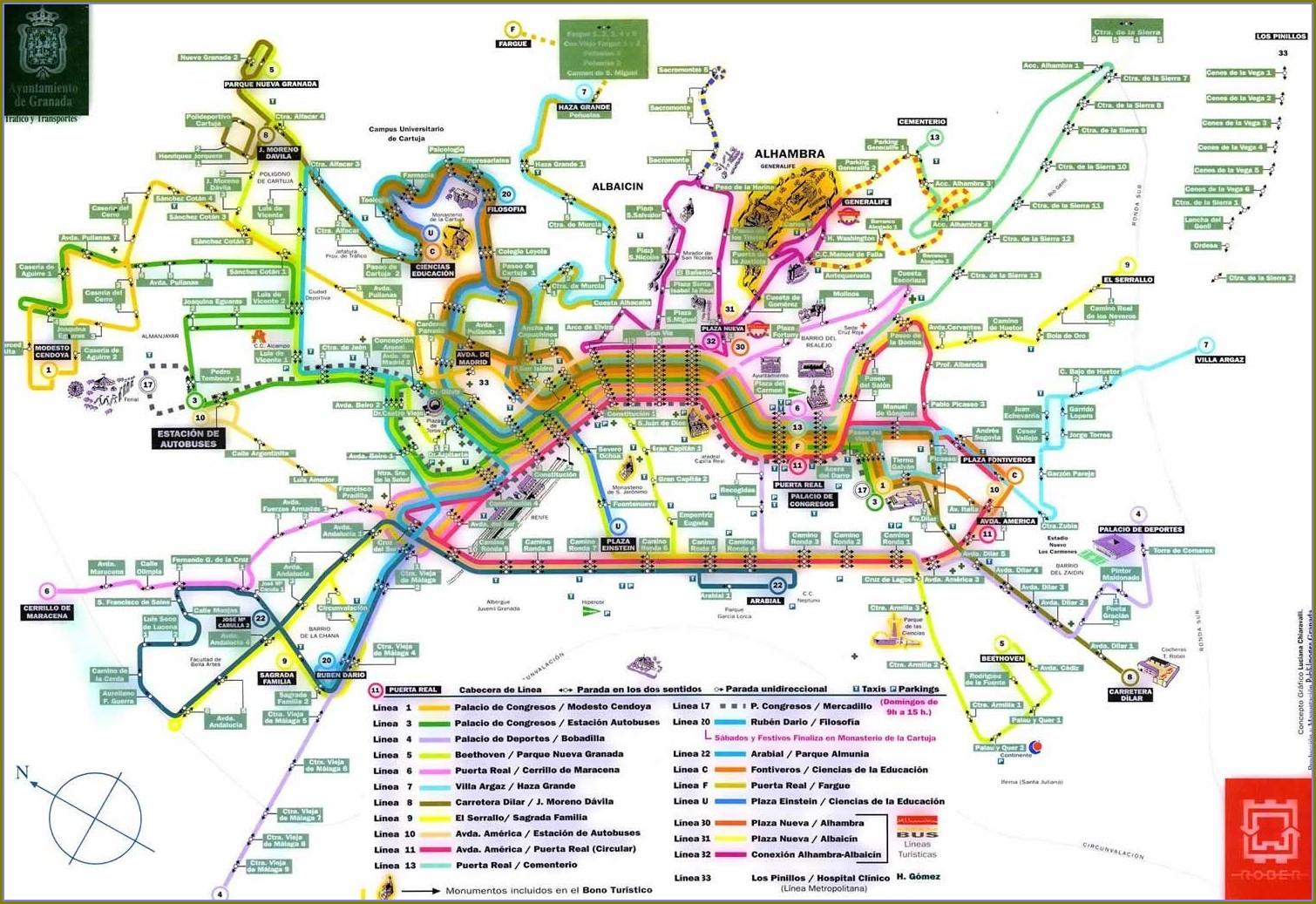 Granada Spain Bus Map