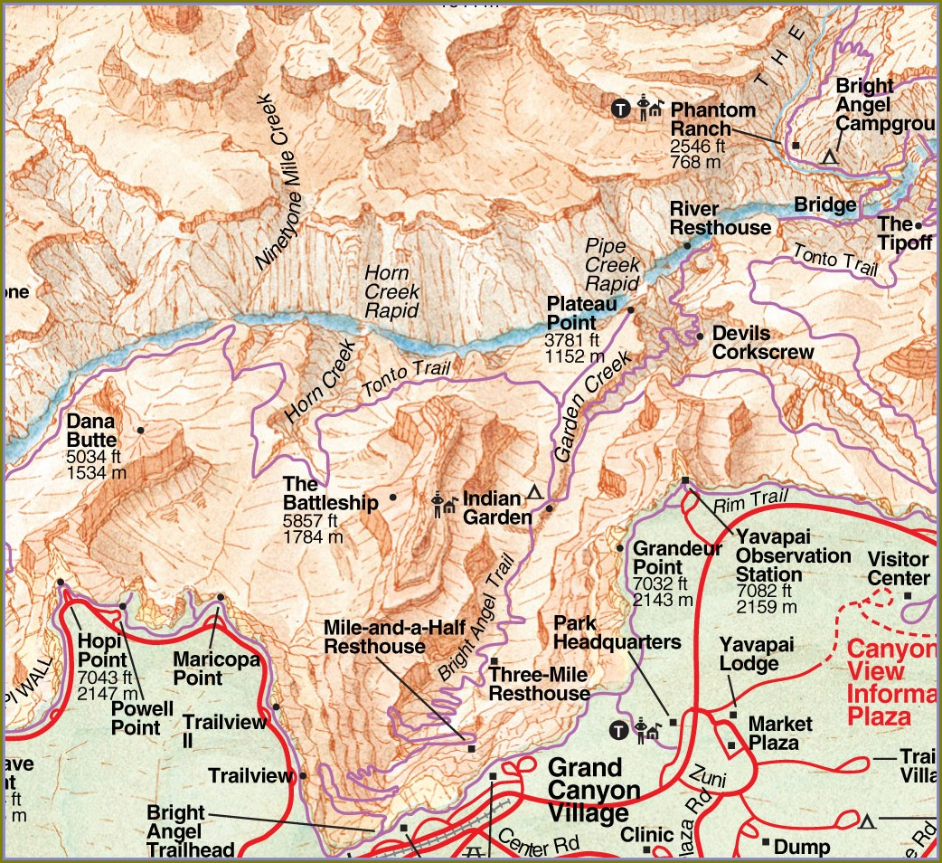 Grand Canyon South Rim Hiking Trails Map