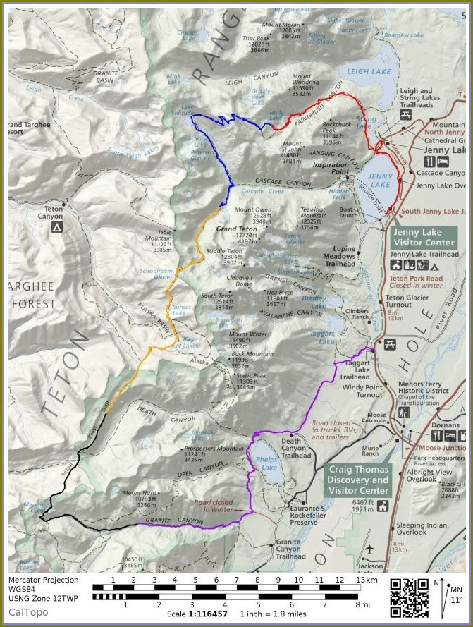 Grand Teton National Park 42 Mile Loop Map