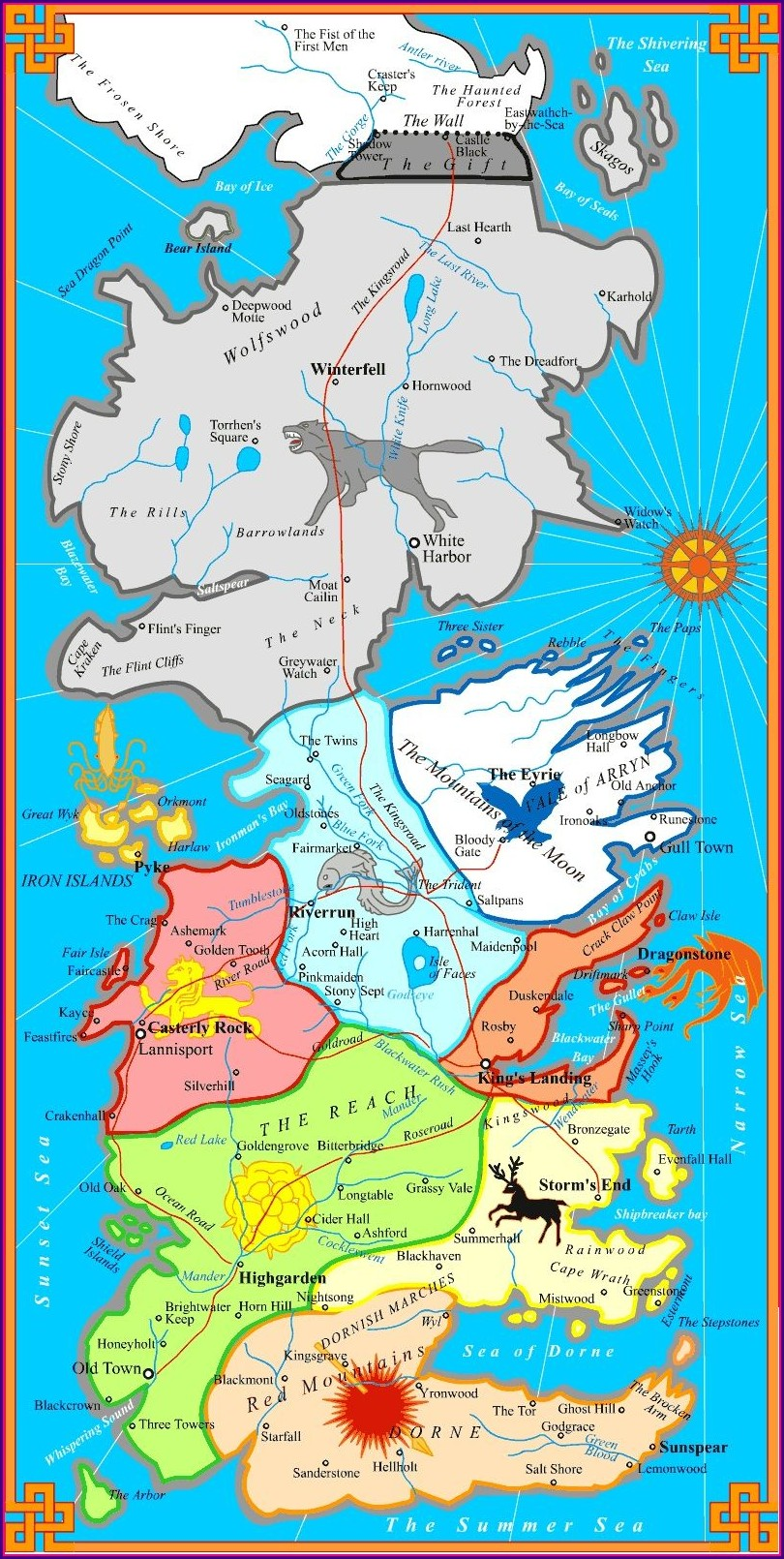 Great Houses Of Westeros Map