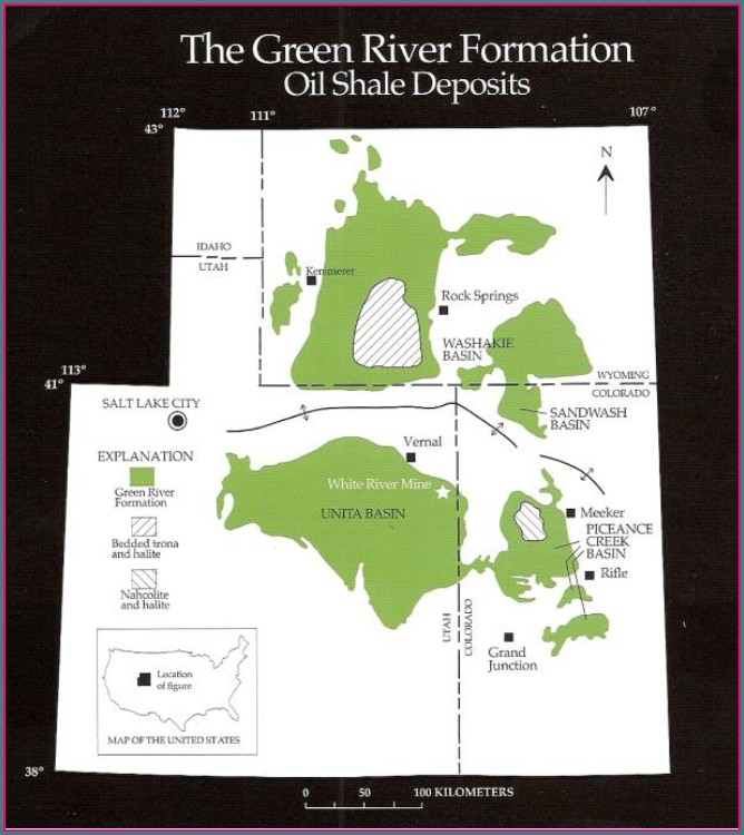 Green River Oil Shale Map