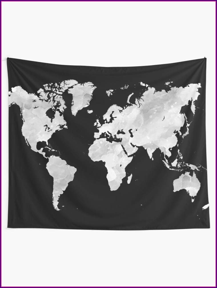 Grey World Map Tapestry