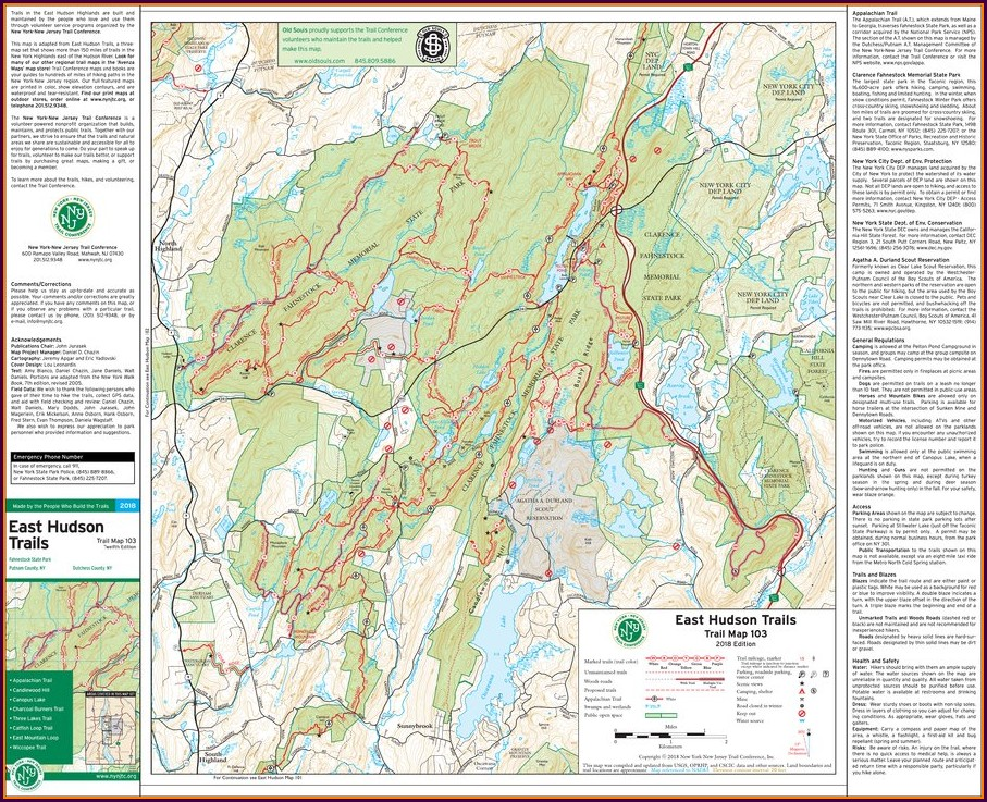 Hiking Trail Fahnestock State Park Map