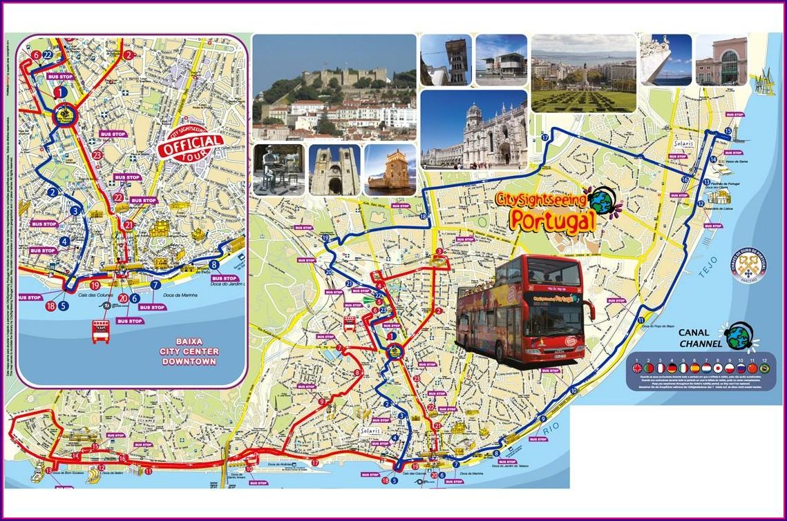 Hop On Hop Off Lisbon Route Map
