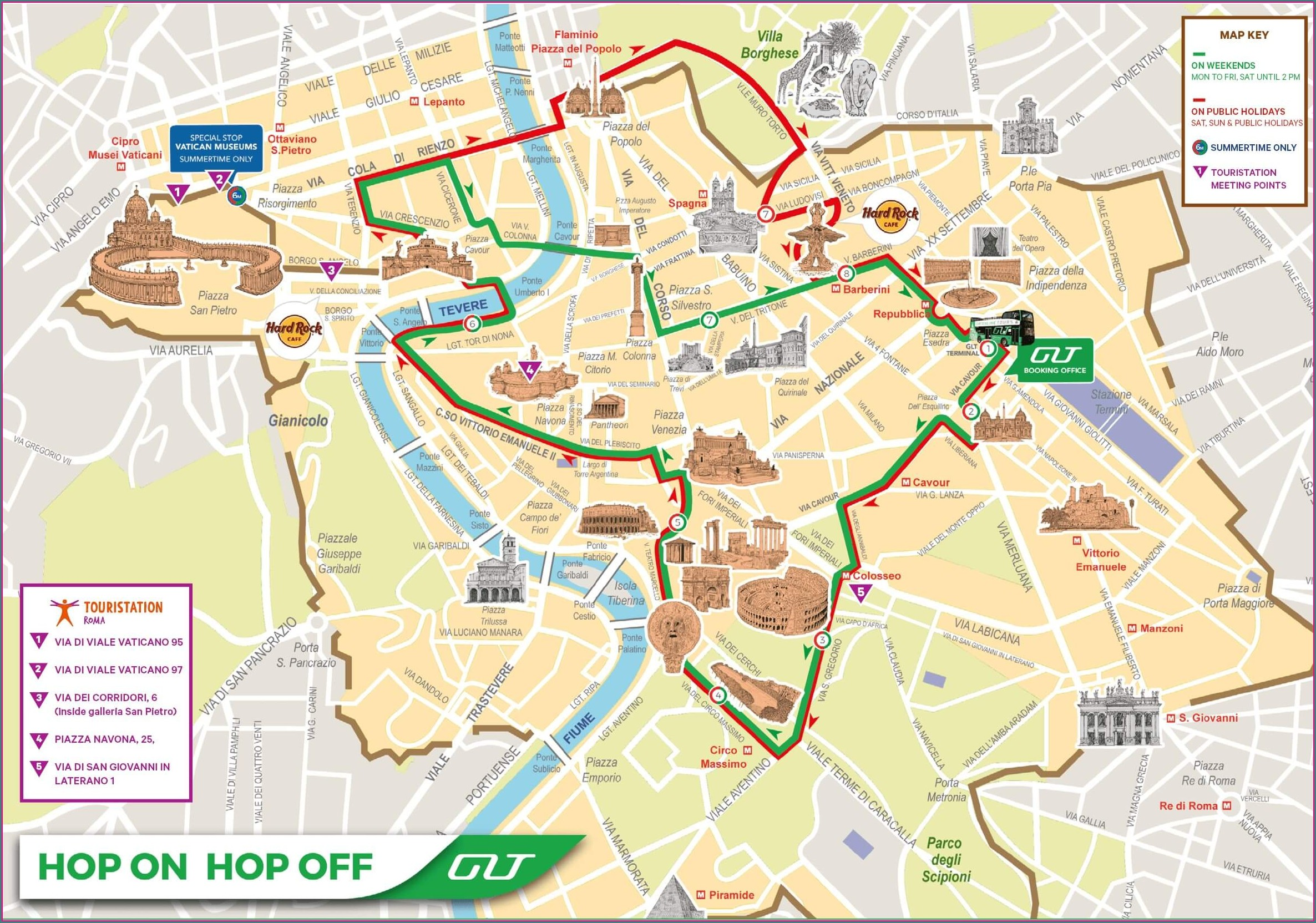 Hop On Off Bus Rome Map Route