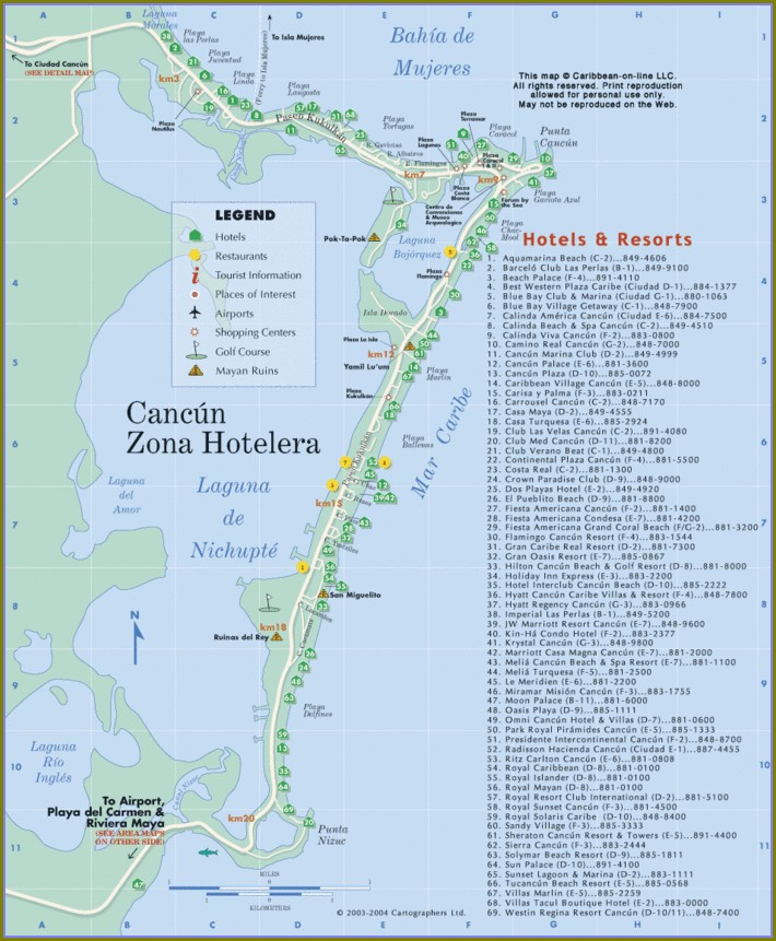 Hotel Zone Map Of Cancun Resorts
