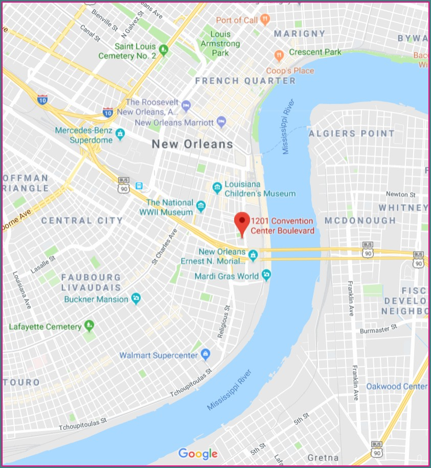 Hotels Near New Orleans Convention Center Map