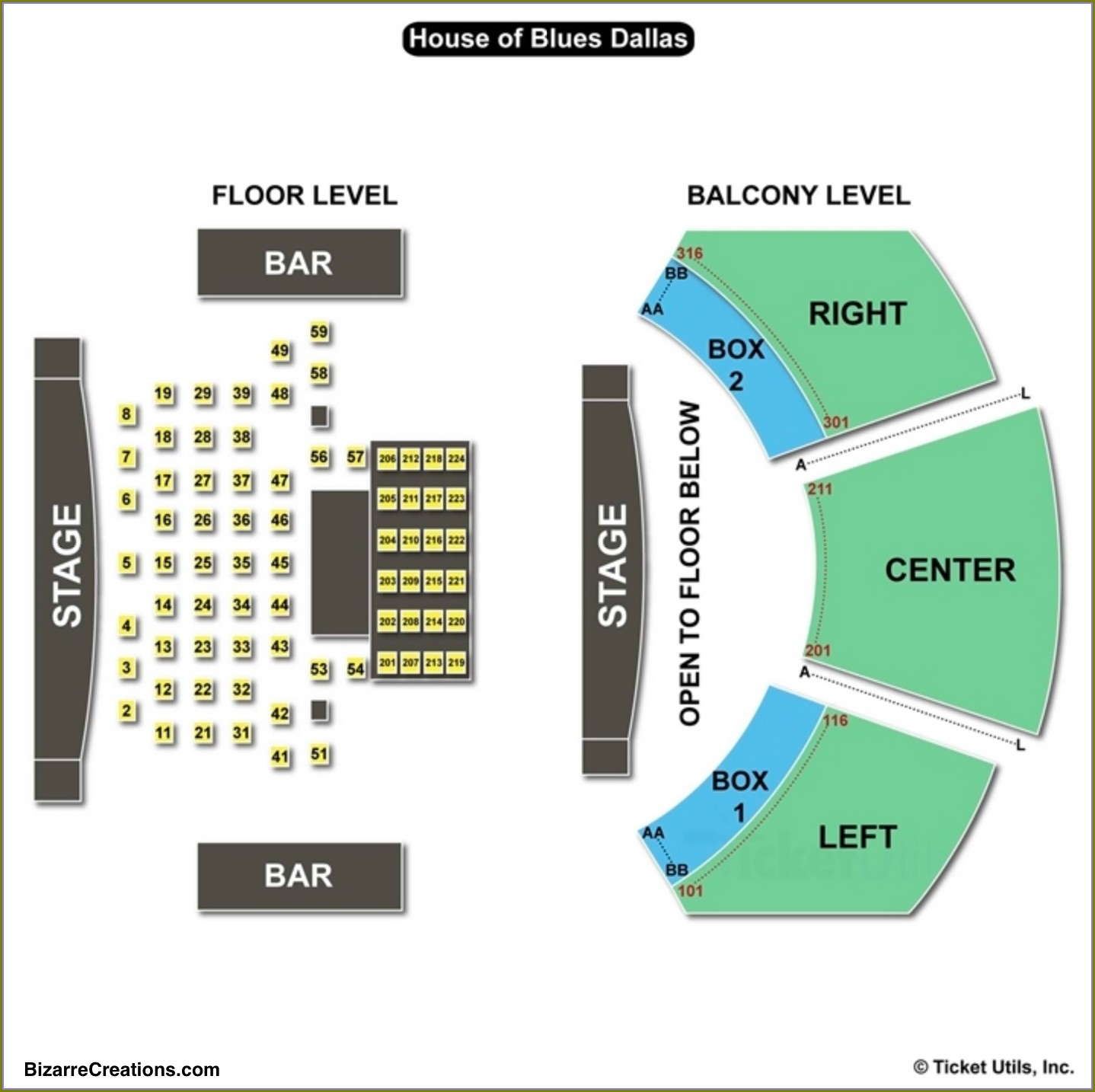 House Of Blues Dallas Seating Map