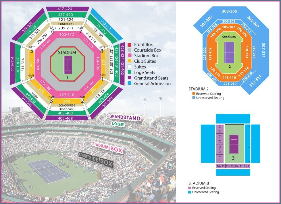 Indian Wells Tennis Stadium Map