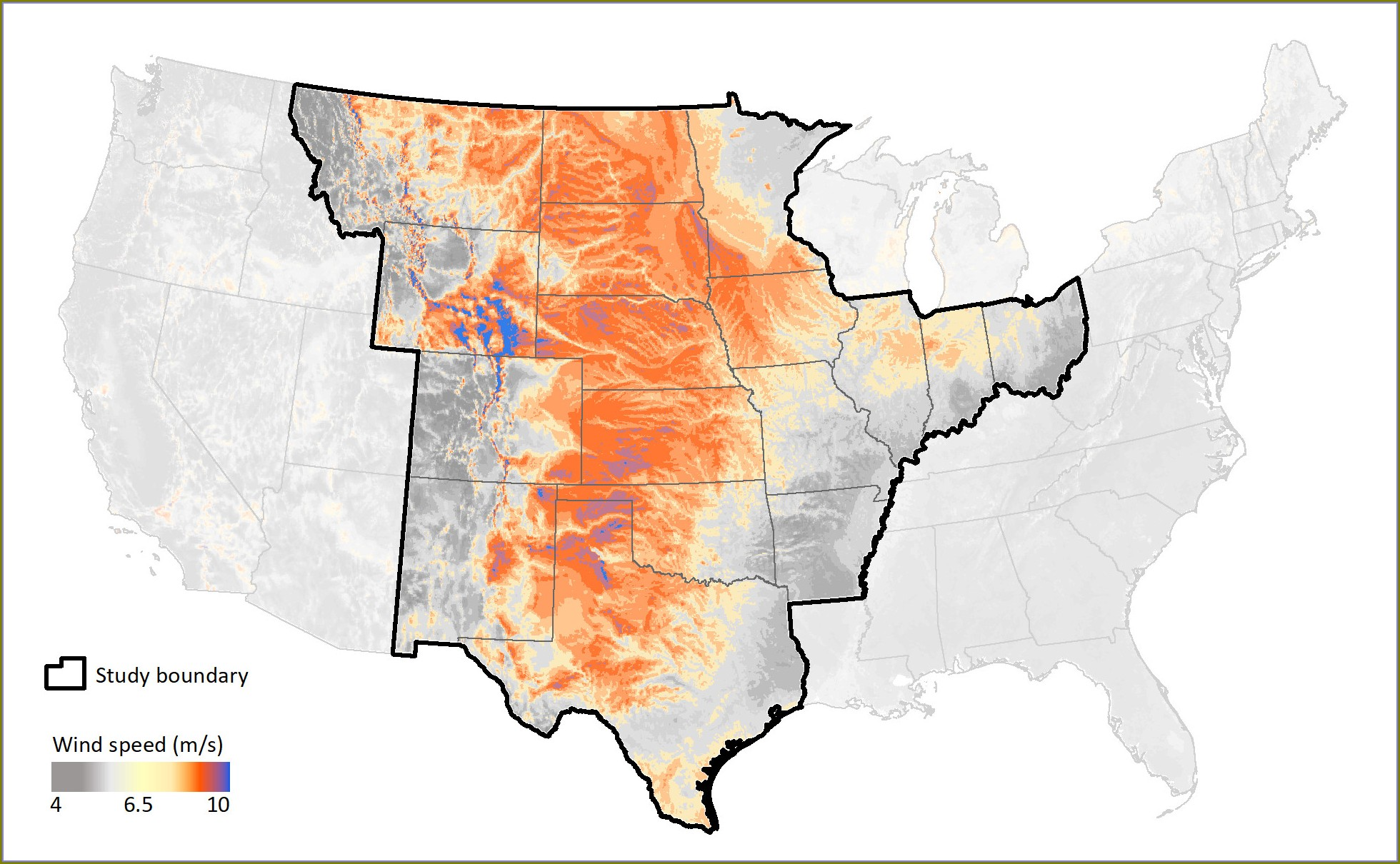 Iowa Wind Speed Map