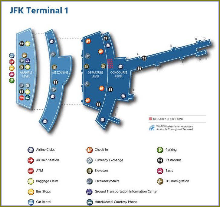 Jfk Terminal 1 Arrivals Map
