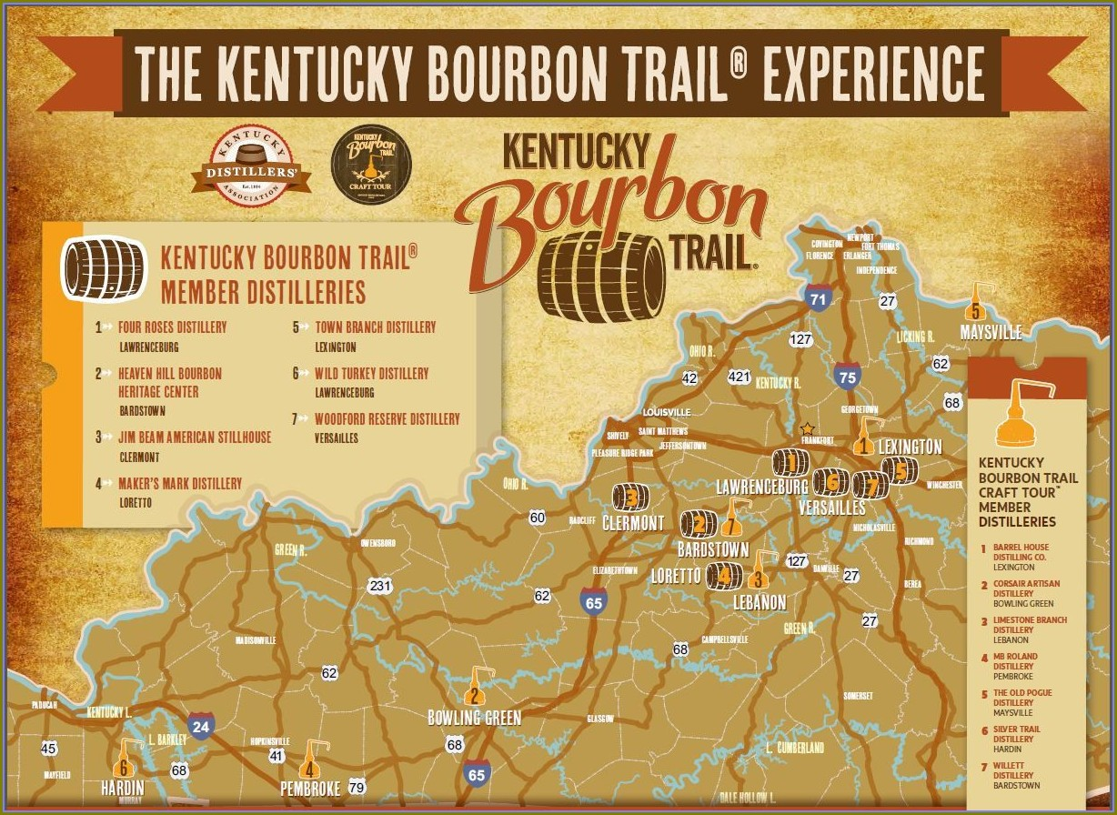 Kentucky Craft Bourbon Trail Map