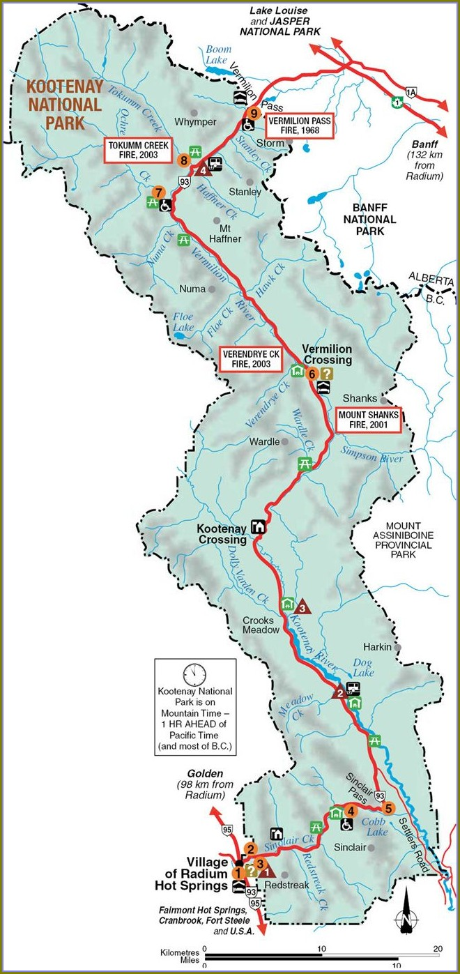 Kootenay National Park Trail Map