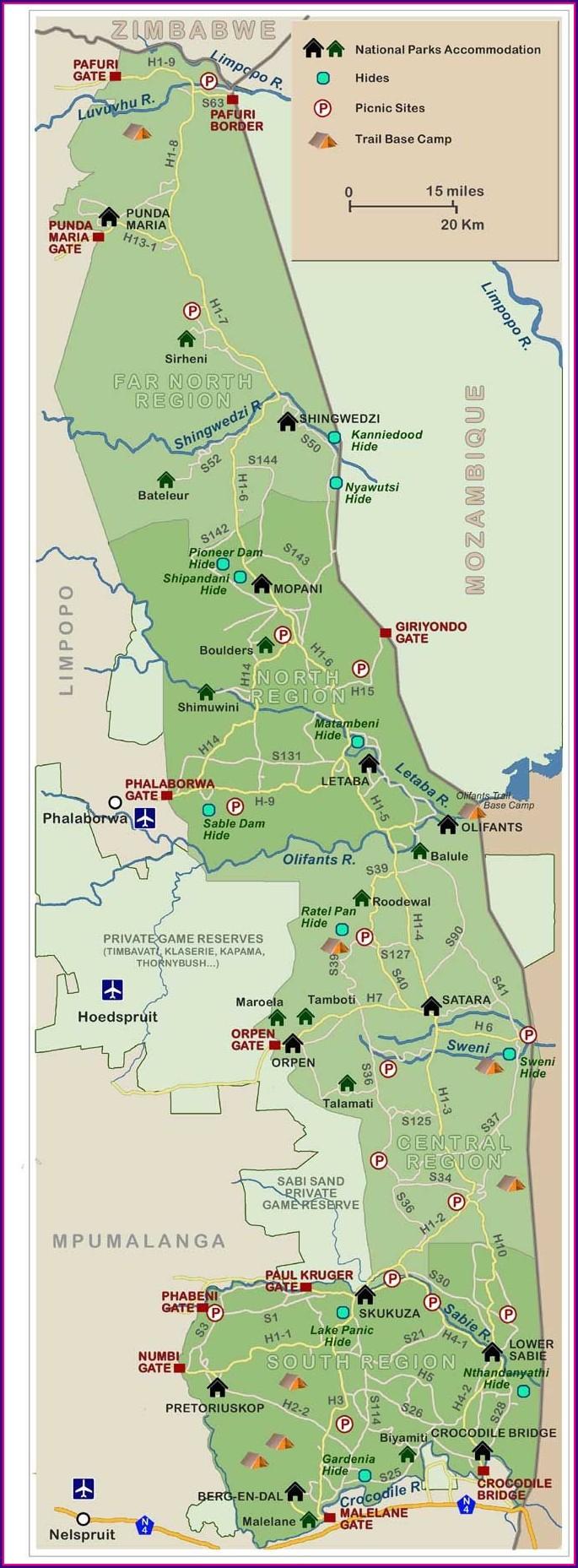 Kruger National Park Camps Map