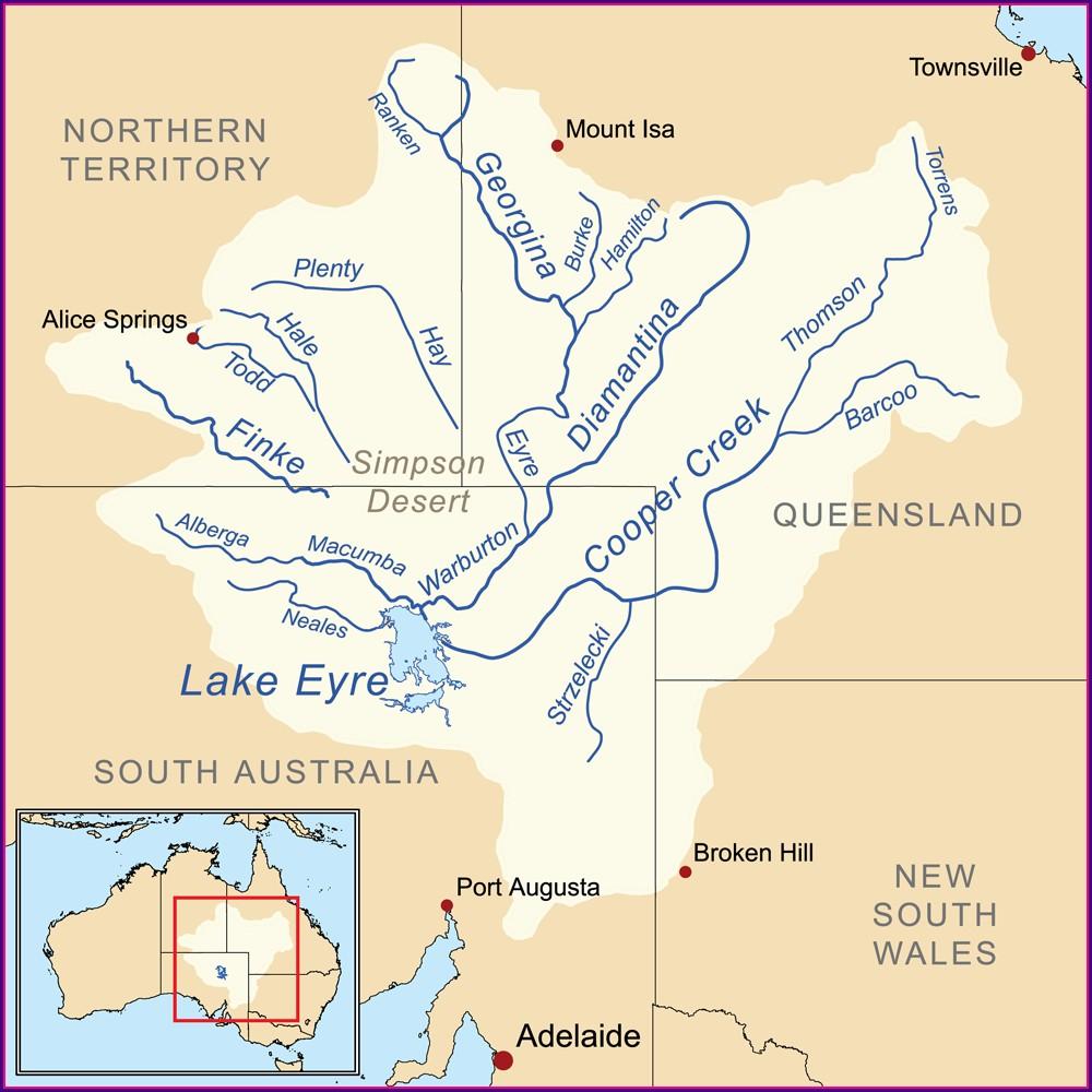 Lake Eyre Australia Map