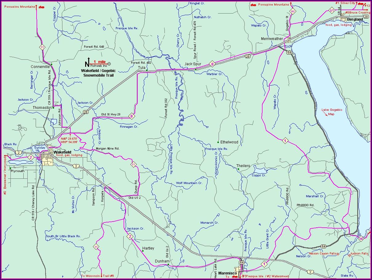 Lake Gogebic Snowmobile Trail Map