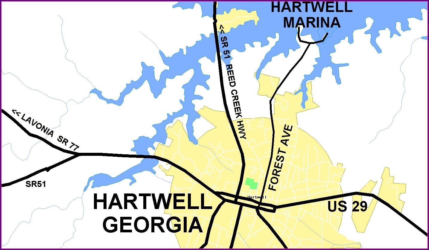 Lake Hartwell Marinas Map