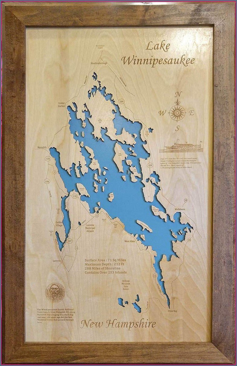 Lake Winnipesaukee Wood Map