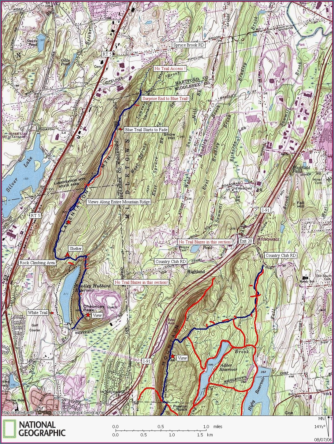 Lamentation Mountain Trail Map