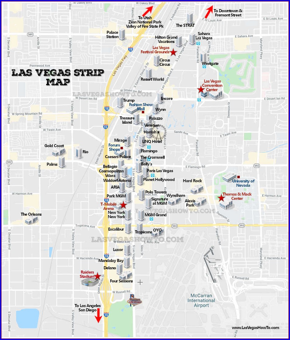 Las Vegas Strip Map Westgate Hotel