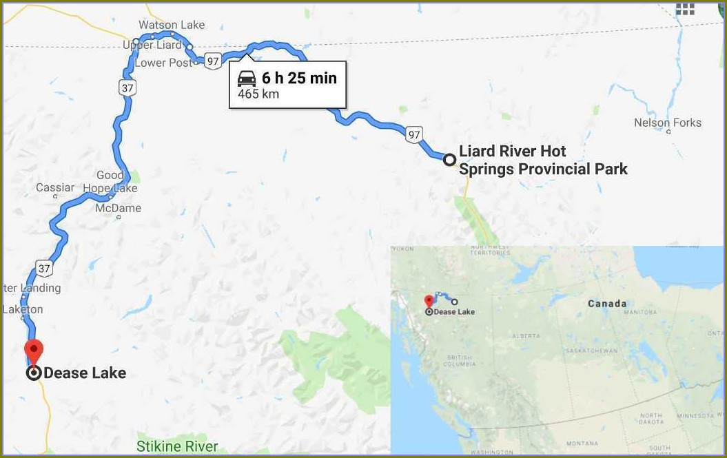 Liard Hot Springs Bc Map