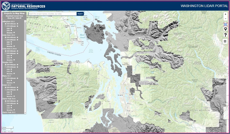 Lidar Maps Washington State