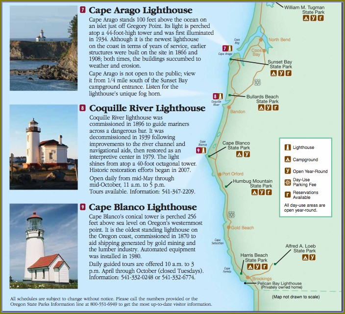 Lighthouses On Oregon Coast Map
