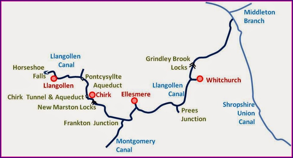 Llangollen Canal Map Bridge Numbers